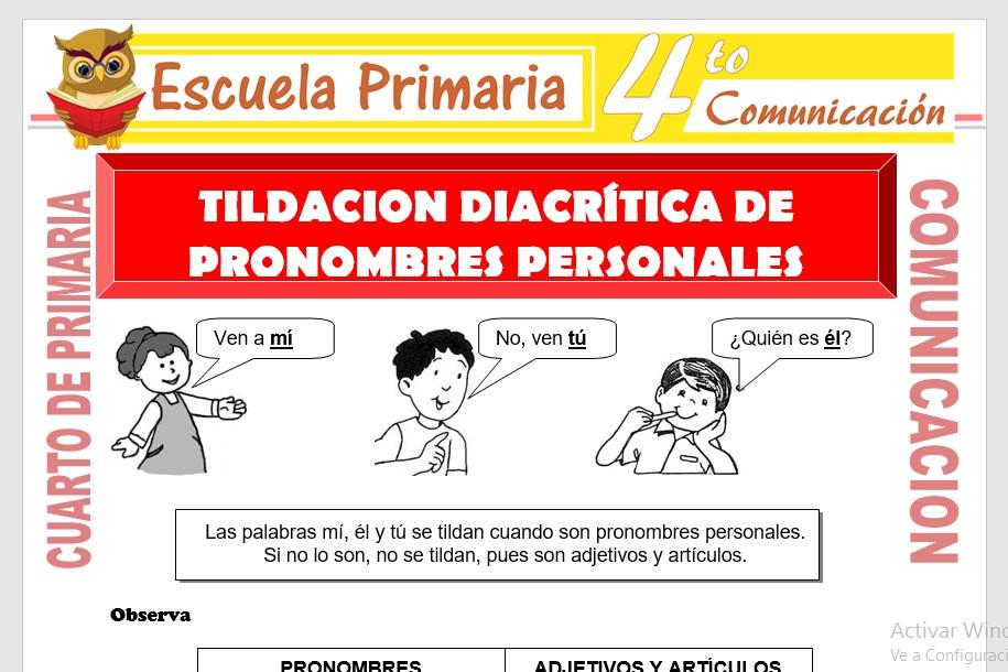 Ficha de Tildacion Diacritica de Pronombres Personales para Cuarto de Primaria