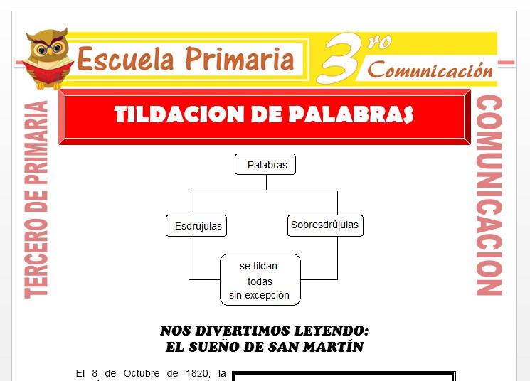 Ficha de Tildación de Palabras para Tercero de Primaria