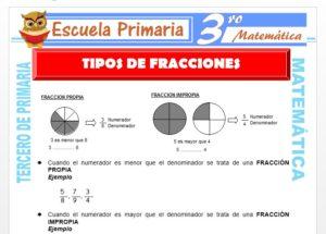 Ficha de Tipos de Fracciones para Tercero de Primaria