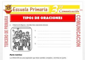 Ficha de Tipos de Oraciones para Tercero de Primaria