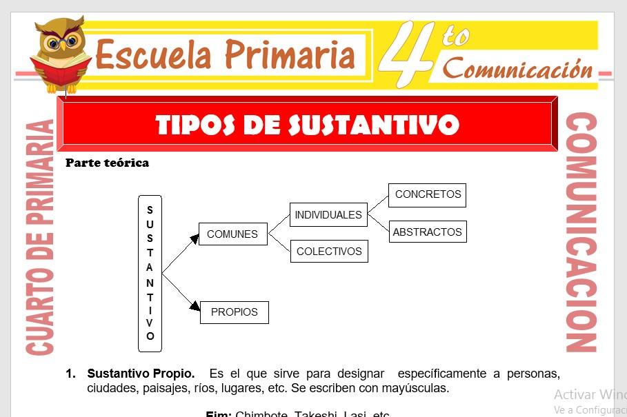 Ficha de Tipos de Sustantivos para Cuarto de Primaria