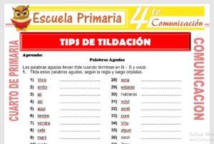 Ficha de Tips de Tildación para Cuarto de Primaria