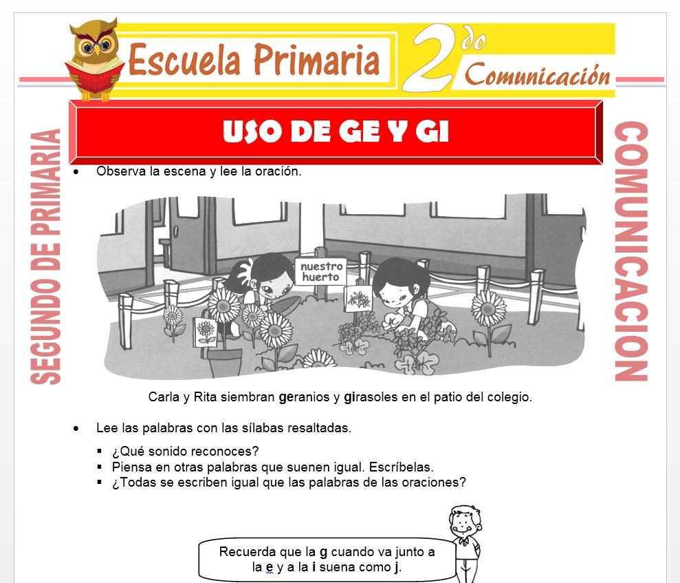 Ficha de Uso de la Ge y Gi para Segundo de Primaria
