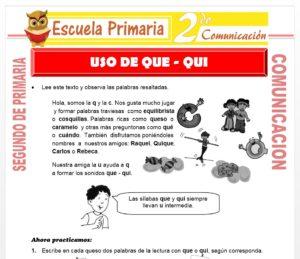 Ficha de Uso de Que-Qui para Segundo de Primaria