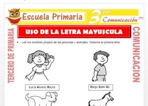 Ficha de Uso de la Letra Mayuscula para Tercero de Primaria