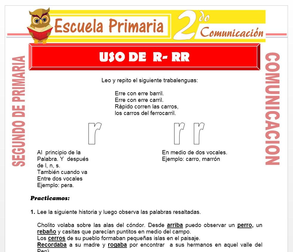 Ficha de Uso de la R-RR para Segundo de Primaria