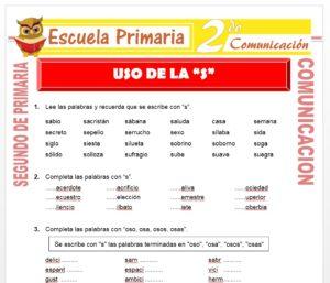 Ficha de Uso de la S para Segundo de Primaria