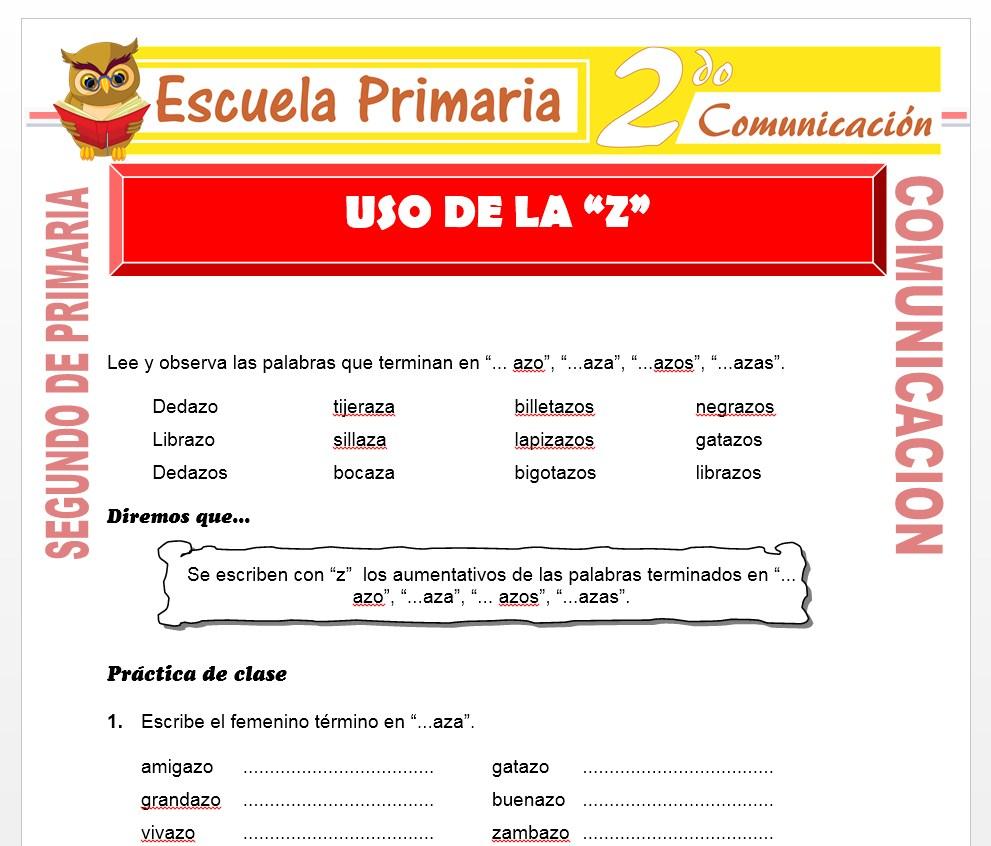 Ficha de Uso de la z para Segundo de Primaria