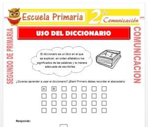 Ficha de Uso del Diccionario para Segundo de Primaria