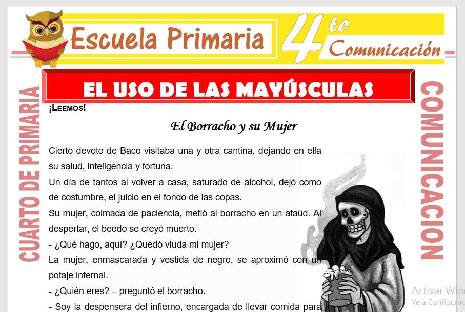 Ficha de Utilización de Las Mayúsculas para Cuarto de Primari