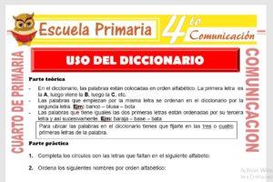 Ficha de Utilizando el Diccionario para Cuarto de Primaria