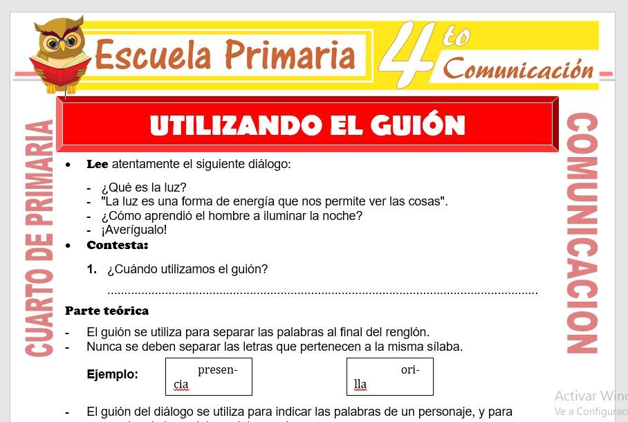 Ficha de Utilizando el Guion para Cuarto de Primaria