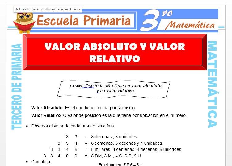 Ficha de Valor Absoluto y Valor Relativo para Tercero de Primaria