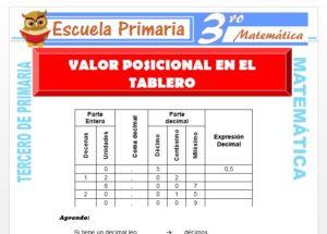 Ficha de Valor posicional en el tablero para Tercero de Primaria