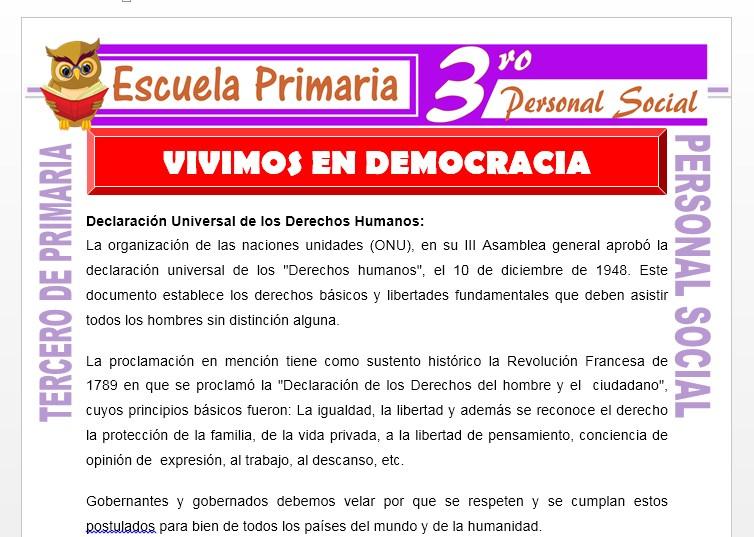 Ficha de Vivimos en Democracia para Tercero de Primaria