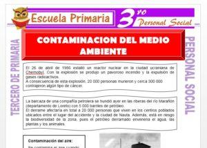 Ficha de Contaminación del Medio Ambiente para Tercero de Primaria