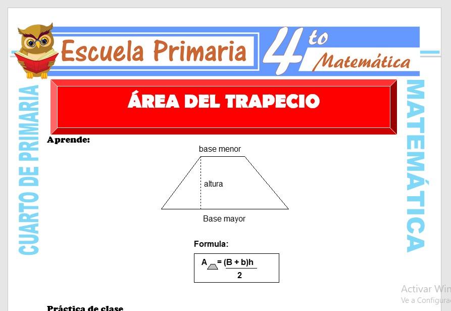 Ficha de Área del Trapecio para Cuarto de Primaria