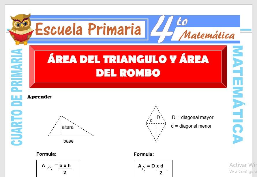 Ficha de Área del Triángulo y Rombo para Cuarto de Primaria