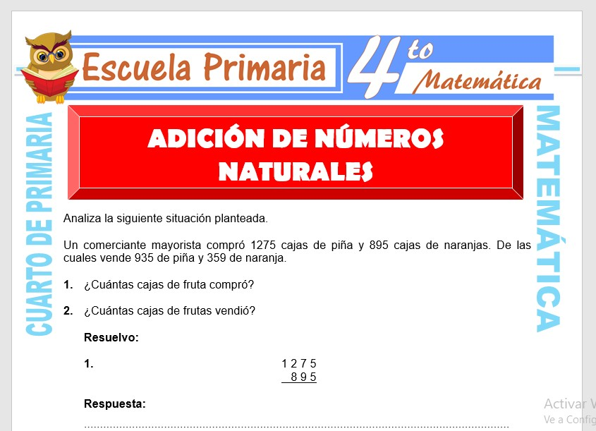 Ficha de Adición de Números Naturales para Cuarto de Primaria