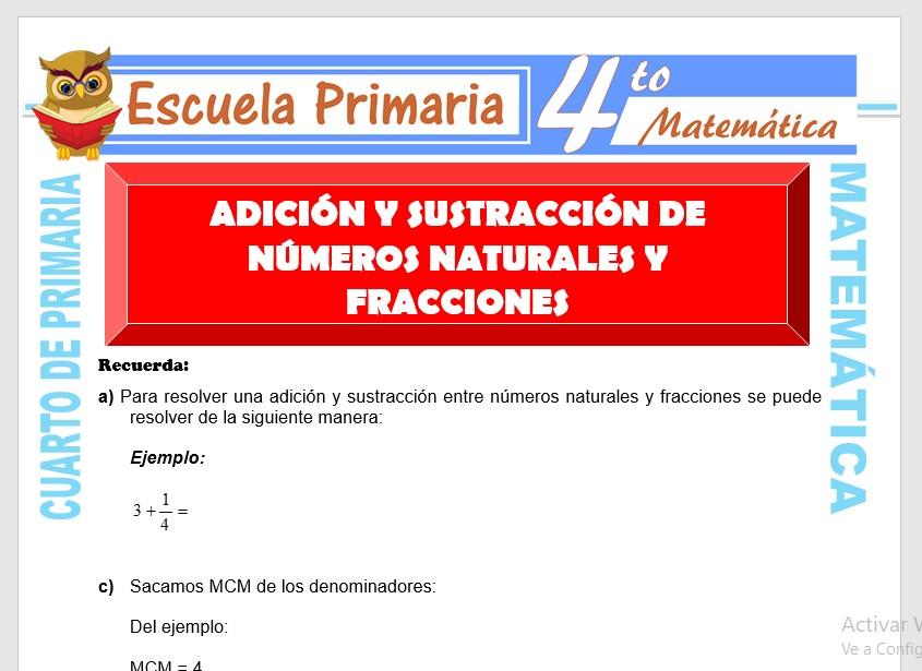 Ficha de Adición y Sustracción de Números Naturales y Fracciones para Cuarto de Primaria