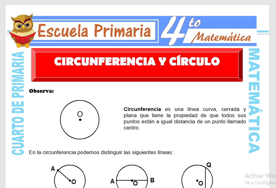 Ficha de Circunferencia y Círculo para Cuarto de Primaria