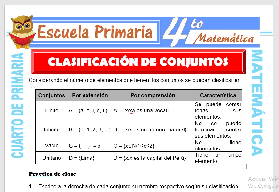 Ficha de Clasificación de Conjuntos para Cuarto de Primaria