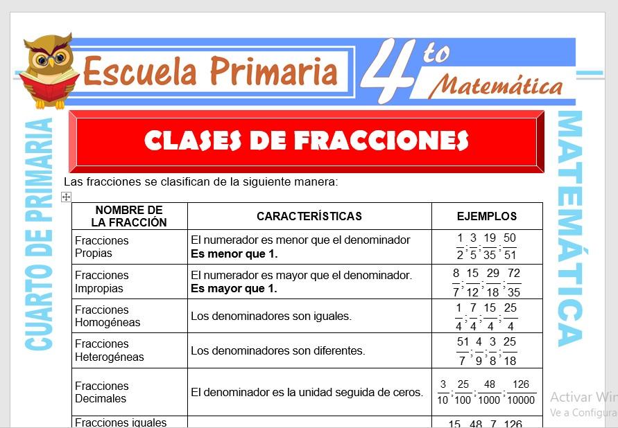 Ficha de Clases de Las Fracciones para Cuarto de Primaria