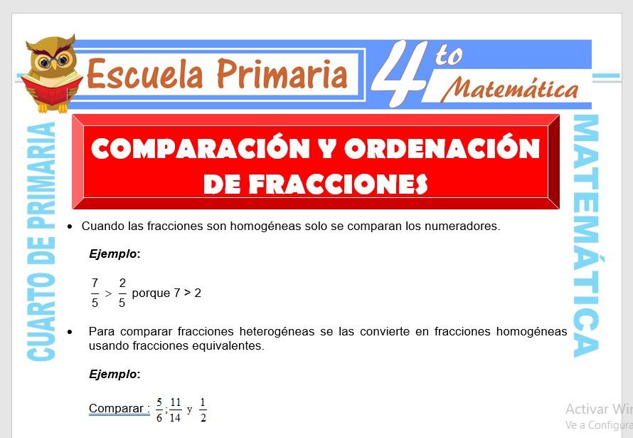 Ficha de Comparación y Ordenación de Fracciones para Cuarto de Primaria