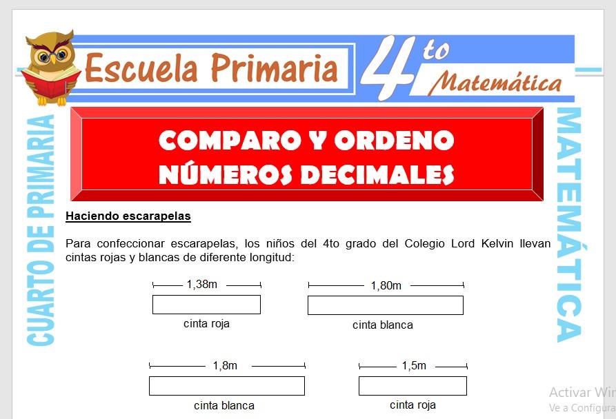 Ficha de Comparo y Ordeno Números Decimales para Cuarto de Primaria