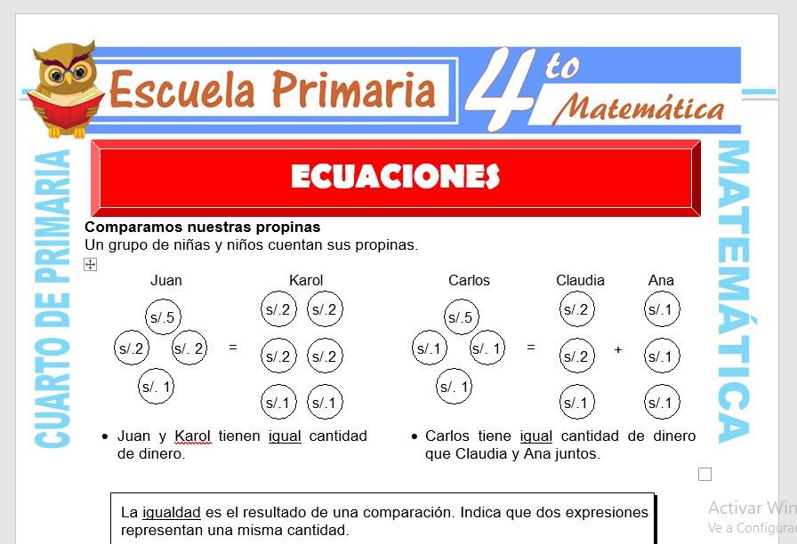 Ficha de Concepto de Ecuación para Cuarto de Primaria