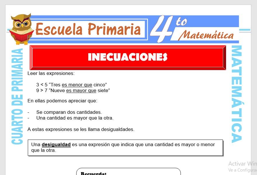 Ficha de Concepto de Inecuación para Cuarto de Primaria