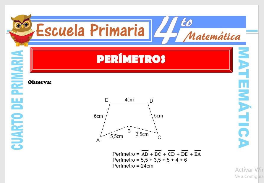 Ficha de Concepto de Perímetros para Cuarto de Primaria