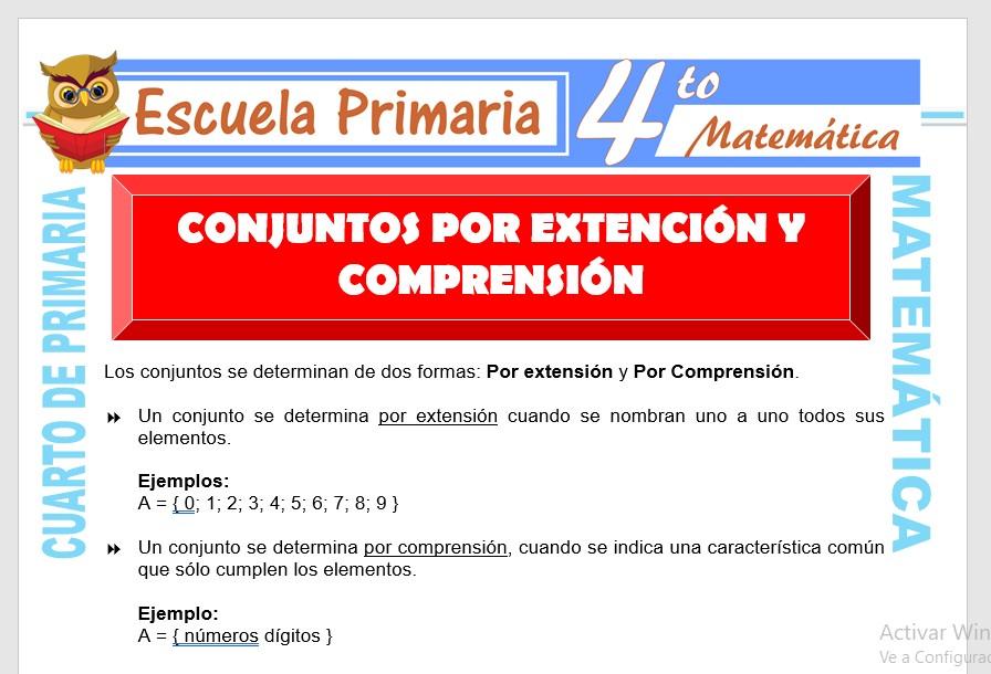 Ficha de Conjuntos por Extensión y Comprensión para Cuarto de Primaria