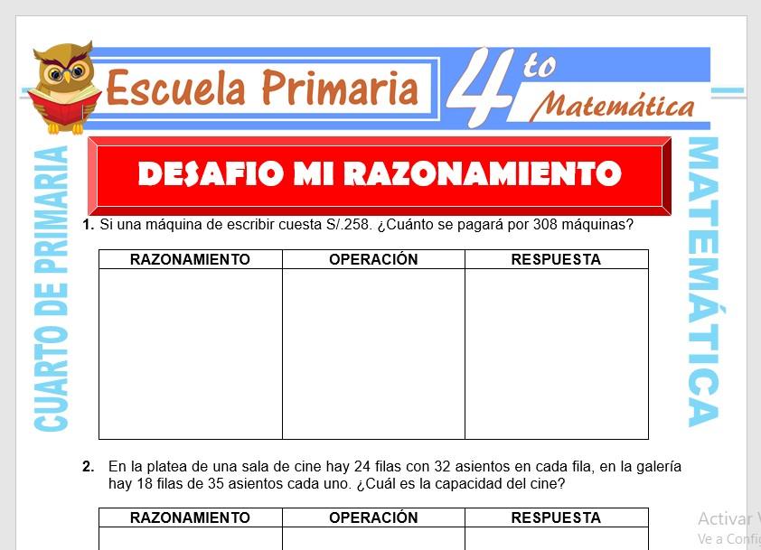 Ficha de Desafío mi razonamiento para Cuarto de Primaria