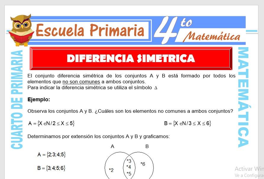 Ficha de Diferencia simétrica de Conjuntos para Cuarto de Primaria