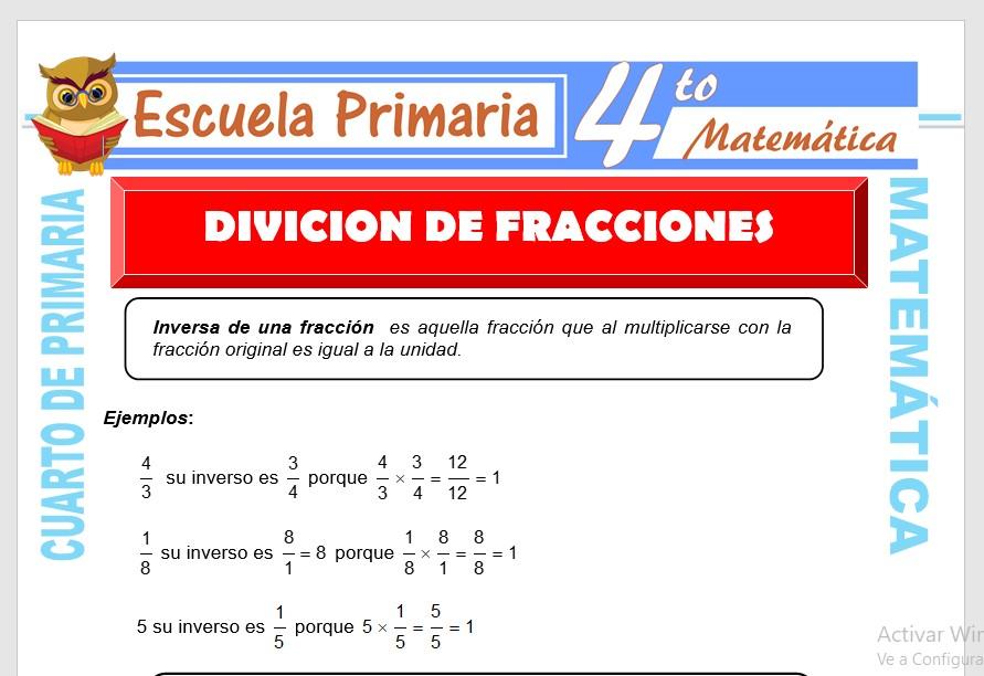 Ficha de División de Fracciones para Cuarto de Primaria