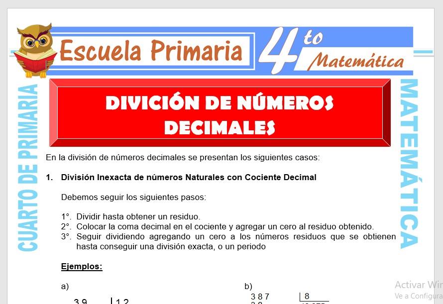 Ficha de División de Números Decimales para Cuarto de Primaria