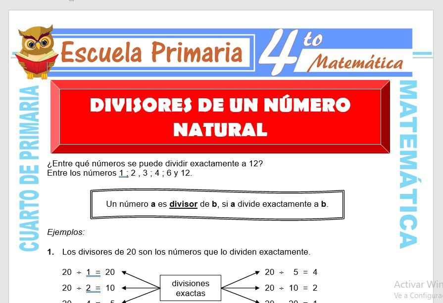 Ficha de Divisores de Los Naturales para Cuarto de Primaria