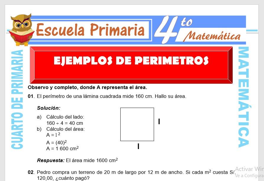 Ficha de Ejemplos de Perímetros para Cuarto de Primaria