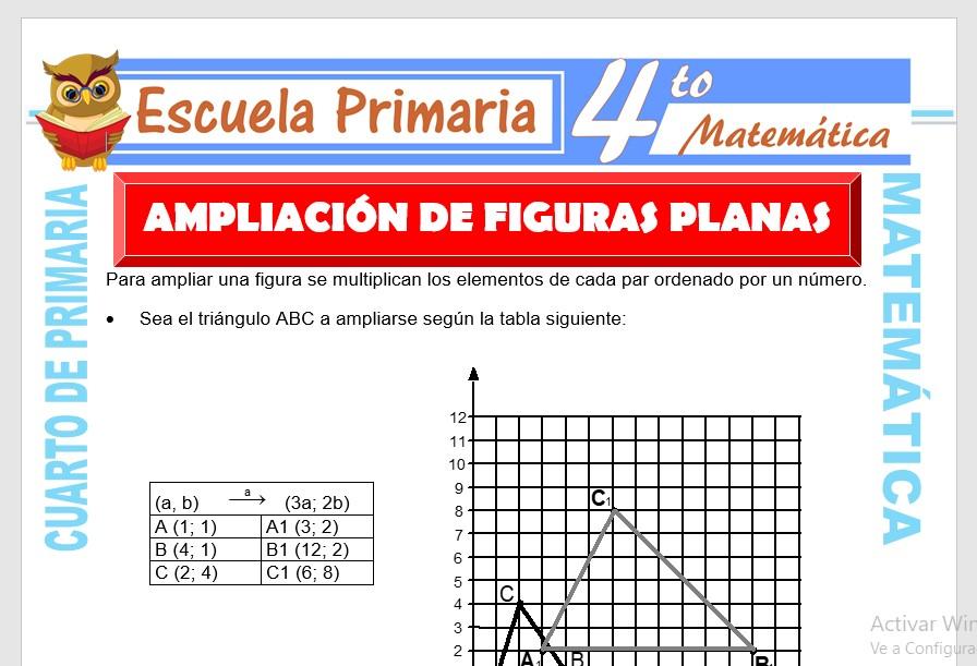 Ficha de Ejercicios de Ampliación y Reducción de Figuras para Cuarto de Primaria