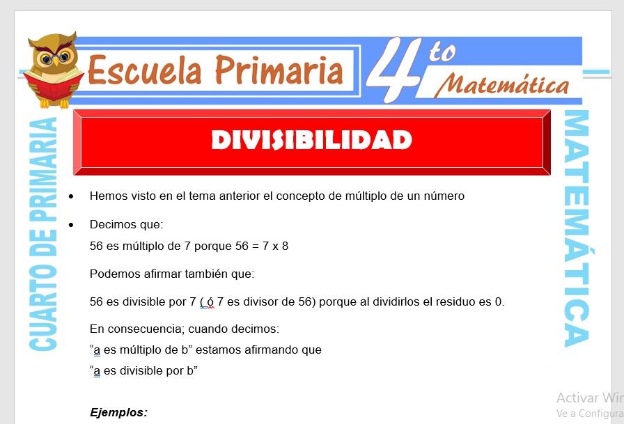 Ficha de Ejercicios de Divisibilidad para Cuarto de Primaria