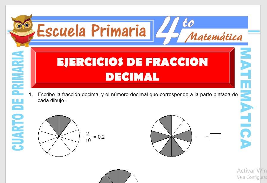 Ejercicios de Fracción Decimal para Cuarto de Primaria ...