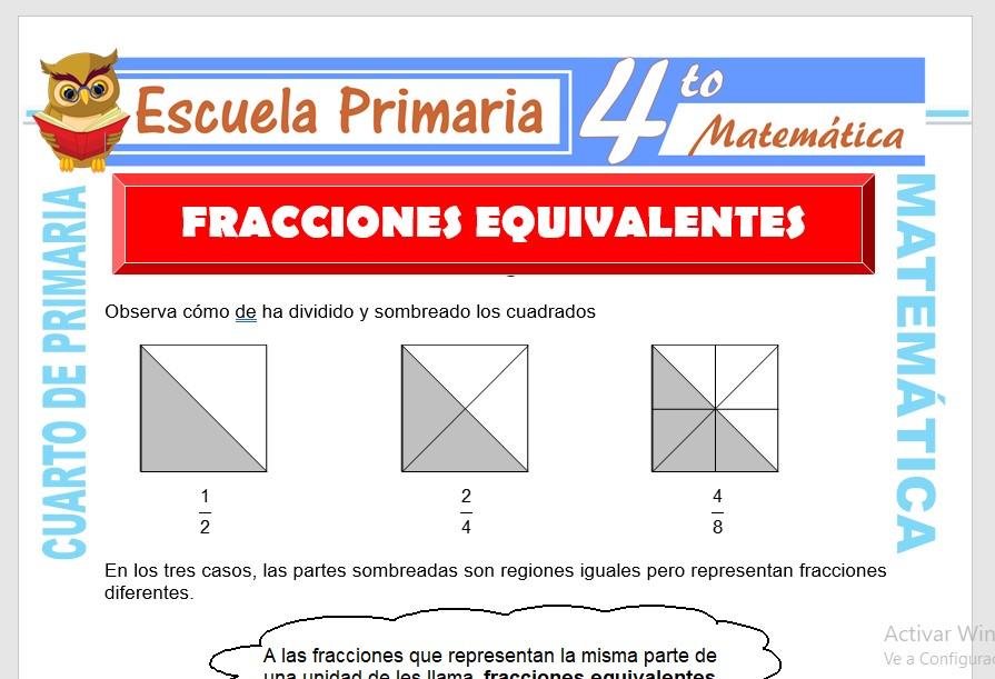 Ejercicios de Fracciones Equivalentes para Cuarto de ...