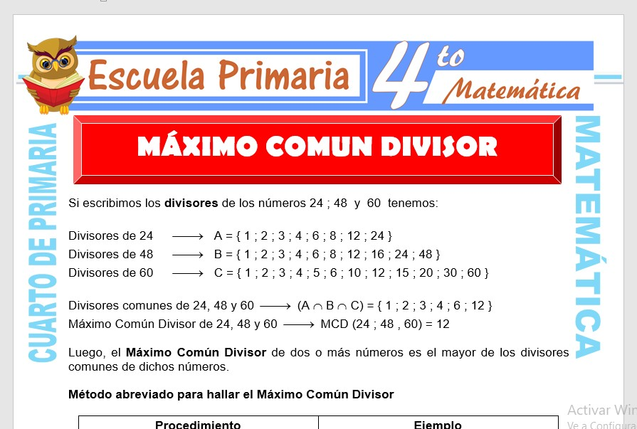 Ejercicios de Maximo Común Divisor para Cuarto de Primaria ...