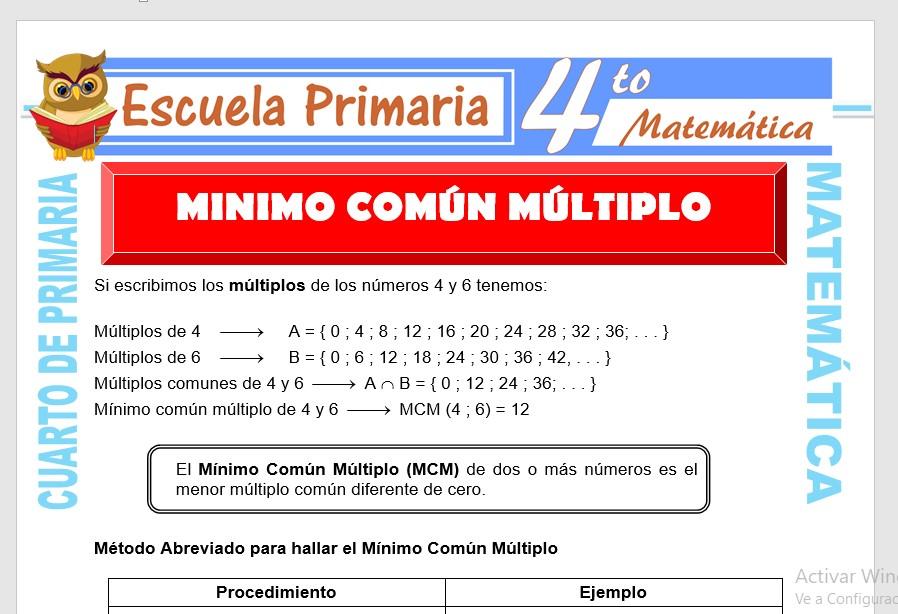 Ficha de Minimo Común Multiplo para Cuarto de Primaria