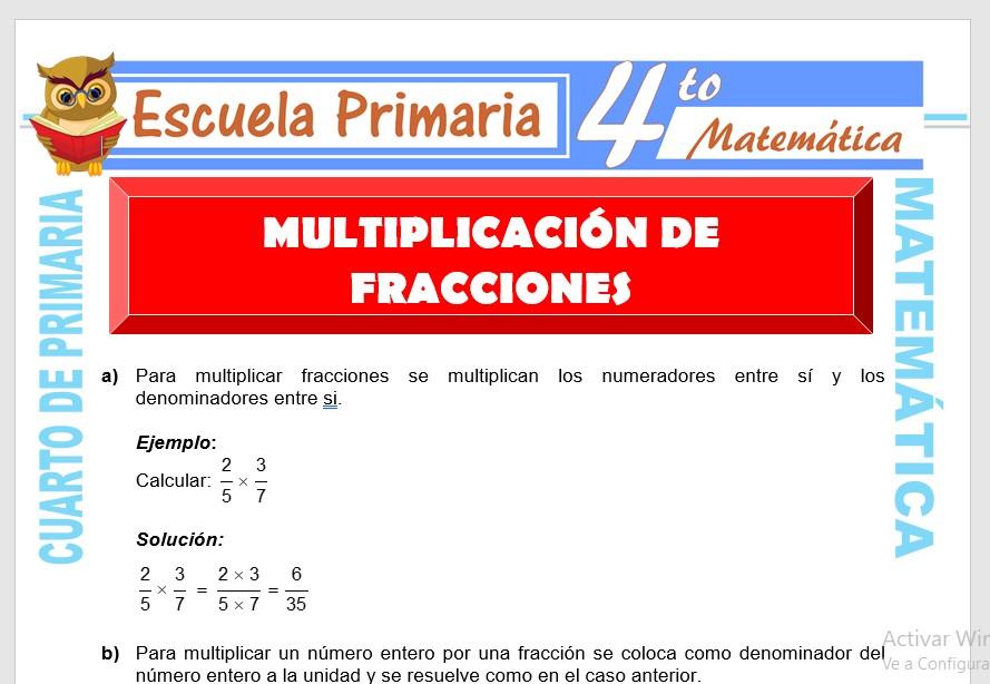 Ficha de Ejercicios de Multiplicación con Fracciones para Cuarto de Primaria