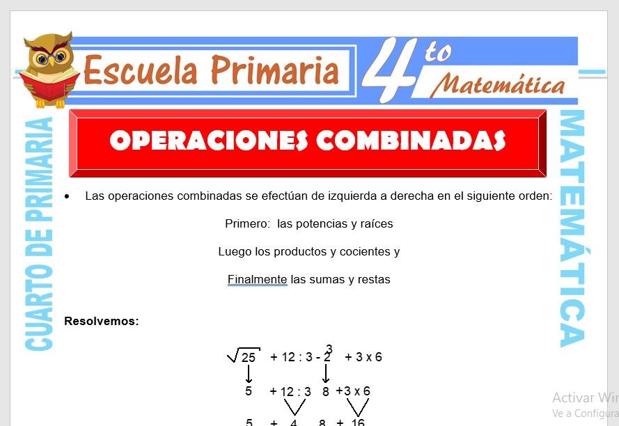 Ficha de Ejercicios de Operaciones Combinadas para Cuarto de Primaria
