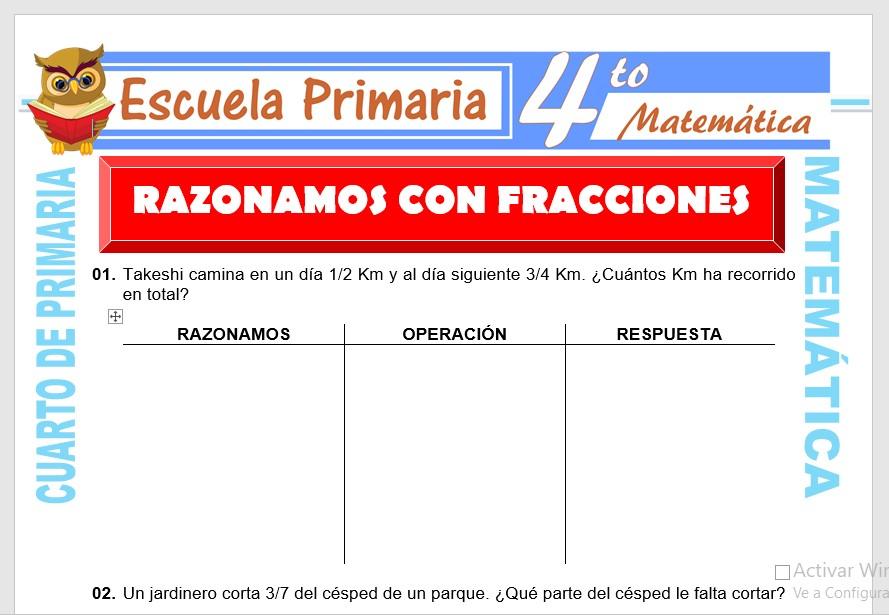 Ficha de Ejercicios de Razonamiento con Fracciones para Cuarto de Primaria