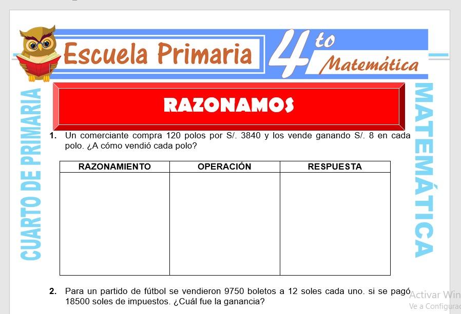 Ficha de Ejercicios de Razonamiento para Cuarto de Primaria
