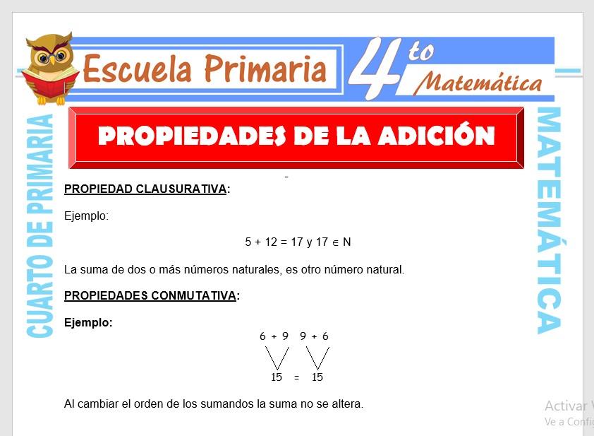 Ficha de Propiedades de La Adición para Cuarto de Primaria